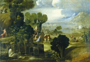 Landscape with the stories of saints