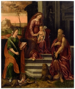 Madonna and Child enthroned with the saints Margaret and Jerome