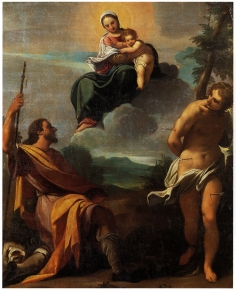 Madonna and Child in glory with the saints Roch and Sebastian